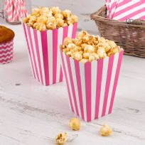 Carnival Pink Popcorn Boxes - Stripes (8)